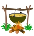 Kettle of Soup in Campfire vector image