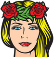 Girl with roses in hair vector image