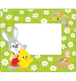 Easter border with Bunny and Chick vector image vector image