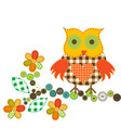 cartoon owl in patchwork style vector image