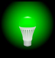 led green economical light bulb glowing on a dark vector image