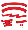 Set of red vintage ribbons Vector Image