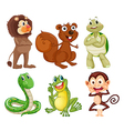 Six different kinds of animals in the jungle vector image vector image