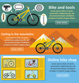 bicycle tools banner horizontal set flat style vector image