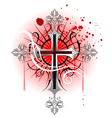 silver cross on a white background vector image vector image