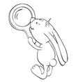rabbit and magnifier outline vector image vector image