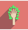 Flat web icon with long shadow leaves hand vector image