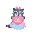 Girl Raccoon With Heart vector image