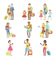Happy Tourists With Bags And Cameras Collection vector image