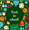 back to school study lesson supplies poster vector image