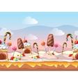 Cartoon fairy tale candy seamless vector image