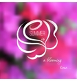 Hand drawn rose on a pink flowers blurred vector image