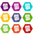 house blueprint icon set color hexahedron vector image