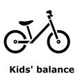Kids balance bike icon simple style vector image