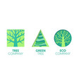 paper cut out logo template set with green trees vector image