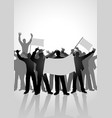 silhouette of crowd of people cheering vector image