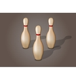 Single bowling pin with red stripe isolated vector image
