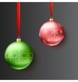 Christmas balls on dark background vector image vector image