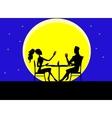 Cartoon silhouette of loving couple vector image