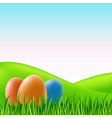 vector easter eggs on grass vector image vector image