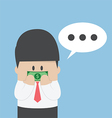 Businessman with dollar bill taped on his mouth vector image