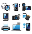 9 highly detailed electronic devices icons vector image