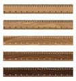 Wooden ruler texture on white background Wooden vector image