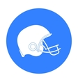 American football helmet icon in black style vector image