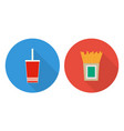 flat cup of cola and french fries vector image
