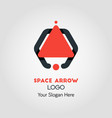 Spaceship-like upside arrow logo template vector image