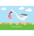 A stork that brings a baby girl vector image
