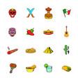 mexico icons set cartoon vector image
