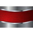 metal background with red perforation steel plate vector image