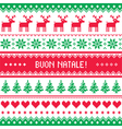 Buon Natale card - scandynavian christmas pattern vector image