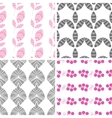 Four abstract pink gray textured leaves seamless vector image vector image