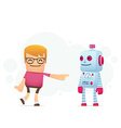 manager advertises new assistant robot vector image vector image