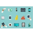 Flat set of office things vector image vector image