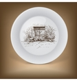 Decorative plate with rural landscape vector image