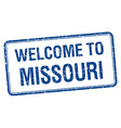 welcome to Missouri blue grunge square stamp vector image