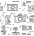 boho ethnic style vintage cameras seamless pattern vector image