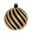 christmas ball in black and gold color twisted vector image