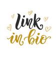 link in bio social media hand written lettering vector image
