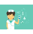 Mobile medicine of female doctor and vector image