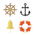 nautical icons set lifebuoy anchor steering wheel vector image