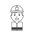 worker firefighter portrait cartoon with helmet vector image