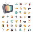 vintage icons set for entertainment vector image
