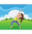 A cute little girl exercising at the hilltop vector image
