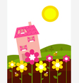 spring house flowers vector image vector image