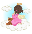 angel baby girl on cloud vector image