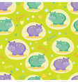 Baby seamless pattern with cute hippos vector image